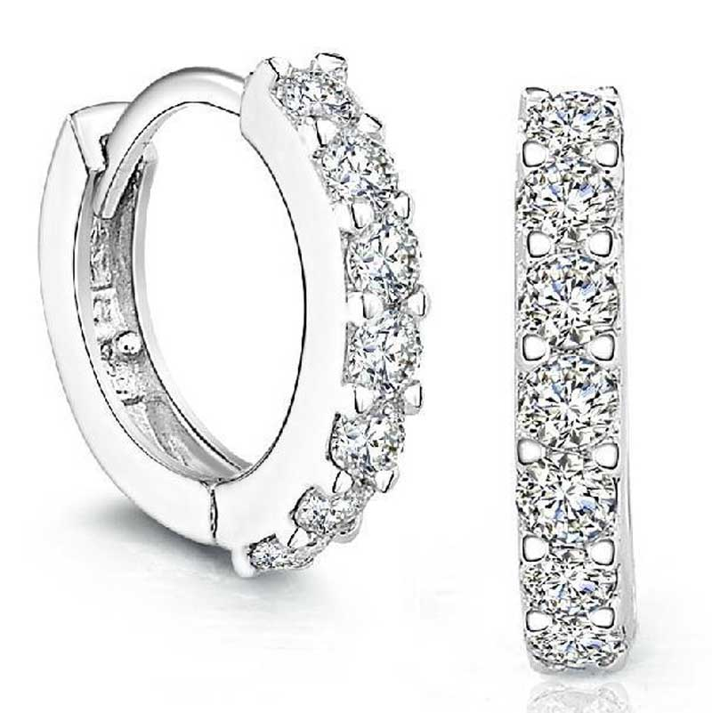 Sterling Silver Rhinestones Hoop Diamond Stud Earrings for Women