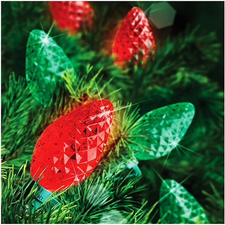 holiday time 25 count led c7 color changing christmas light string red green