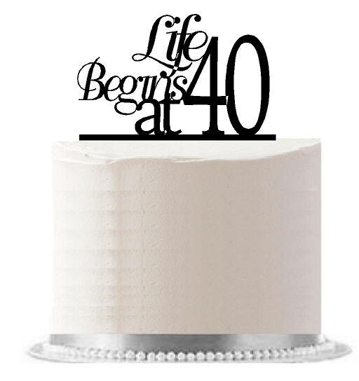 Life Begins at 40 Black Birthday Party Elegant Cake Decoration Topper