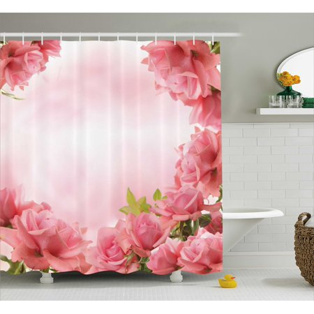 Valentine Shower Curtain, Framework with Romantic Roses with Leaves Bridal Wedding Marriage Corsage, Fabric Bathroom Set with Hooks, 69W X 70L Inches, Pink Coral Green, by Ambesonne](Coral Bridal Shower Decorations)