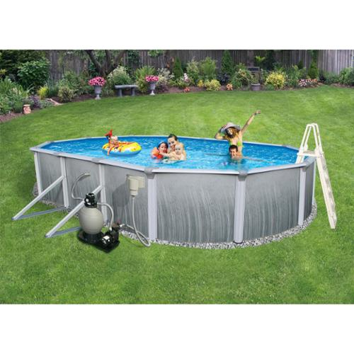 Blue Wave Martinique Oval 52-inch Deep 7-inch Top Rail Metal Wall Swimming Pool Package 18' x 33' Oval
