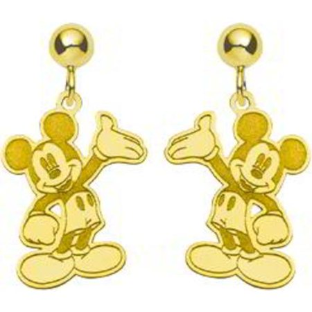 Gold Plated Ss Disney Mickey Mouse Dangle Earrings
