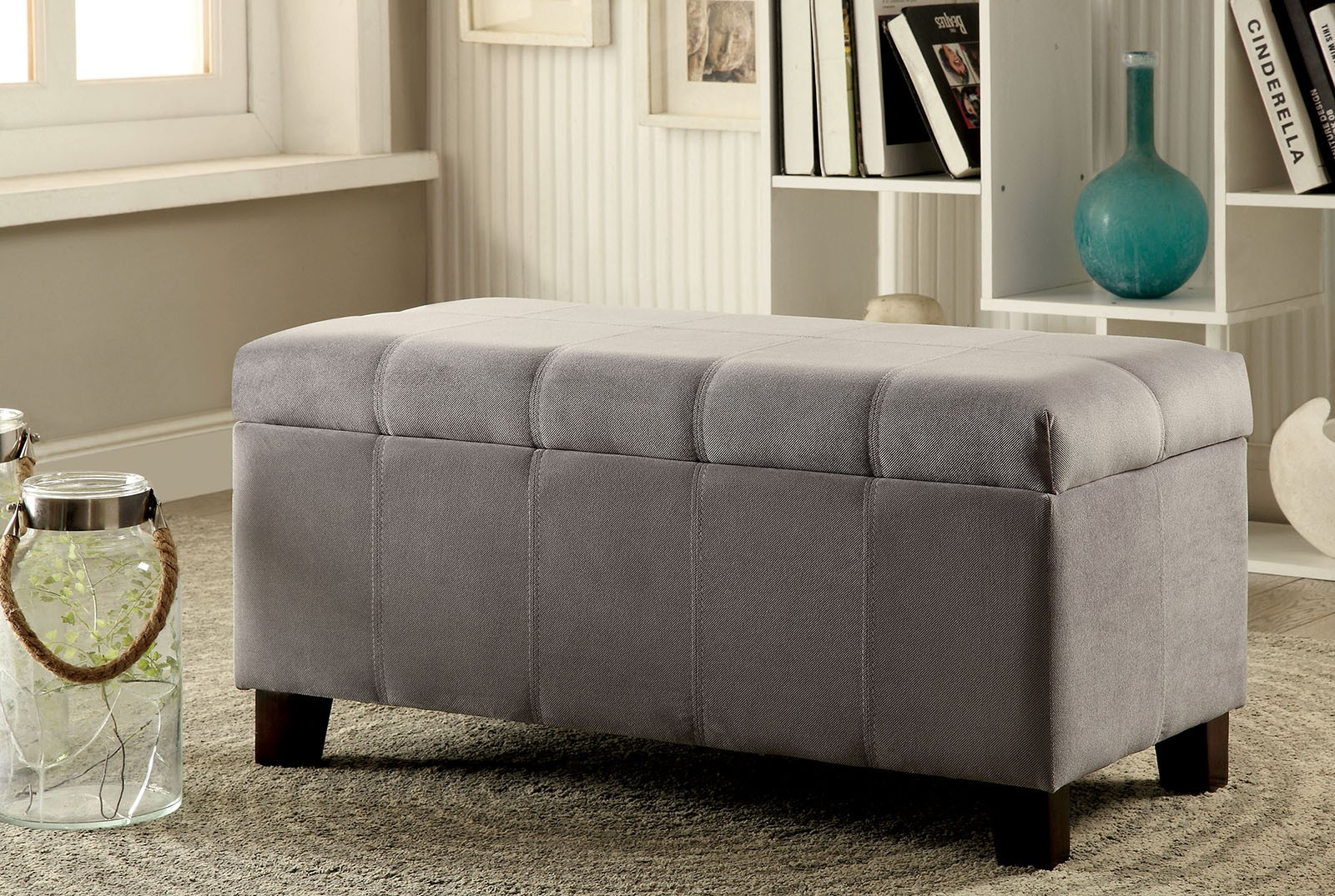 1PerfectChoice Remi Contemporary Padded Flannelette Flip-Top Storage Ottoman Bench Footstool Gray by 1PerfectChoice
