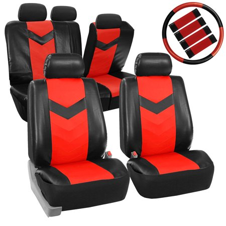 FH Group Synthetic Leather Auto Accessory Full Set with Steering Wheel Cover and Seatbelt Pads, Side Airbag Compatible with Split Bench Function, Red and Black ()