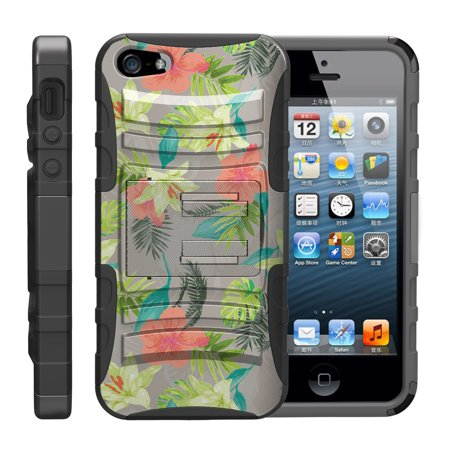 TurtleArmor ® | For Apple iPhone SE | iPhone 5 | iPhone 5s [Hyper Shock] Hybrid Dual Layer Armor Holster Belt Clip Case Kickstand - Hawaiian