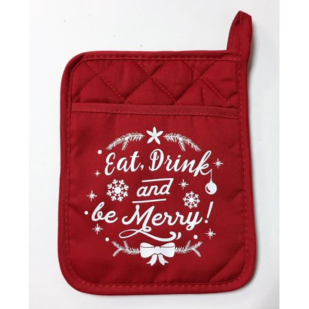 Eat Drink and Be Merry Holiday Kitchen Pot Holder Pocket Mitt Neoprene Back