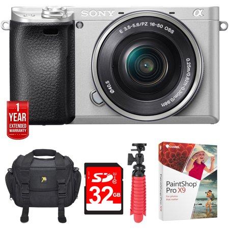 Sony a6300 4K Mirrorless Camera w/16-50mm Power Zoom Lens Silver+Ultimate 32GB Bundle