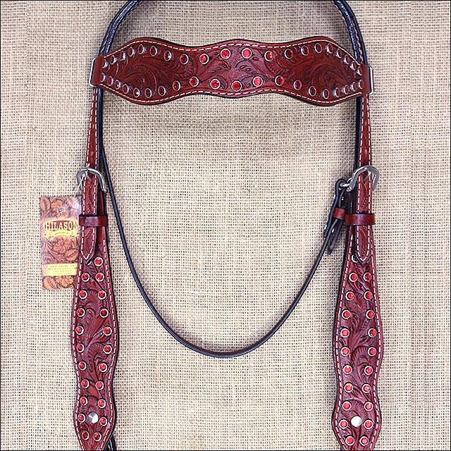 HILASON WESTERN AMERICAN LEATHER HORSE BRIDLE HEADSTALL MAHOGANY RED RHINESTONE