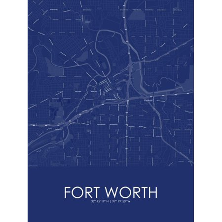 Fort Worth, United States of America Blue Map Poster Wall (Map Of The Unites States Of America)