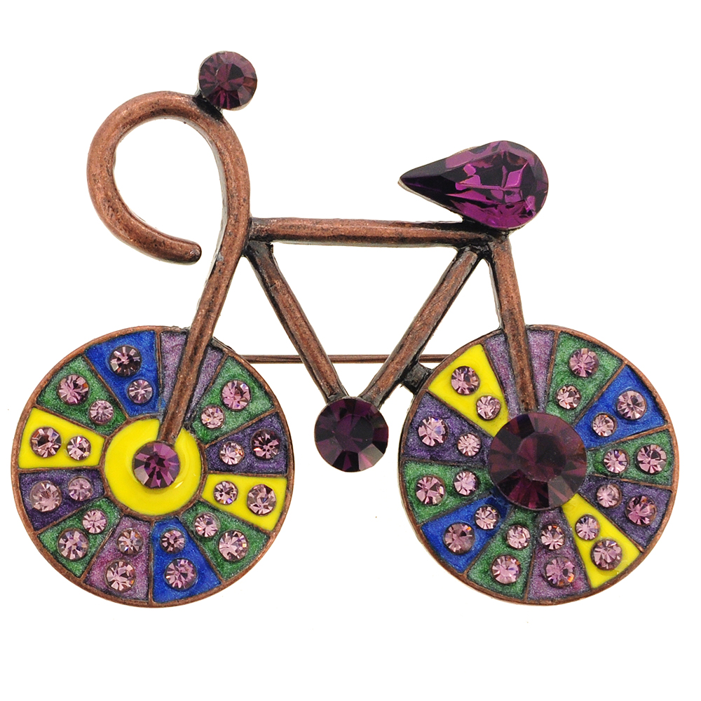 Vintage Style Amethyst Crystal Bicycle Pin Brooch by