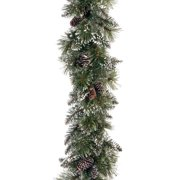 """National Tree 6' x 10"""" Glittery Bristle Pine Garland with Cones"""