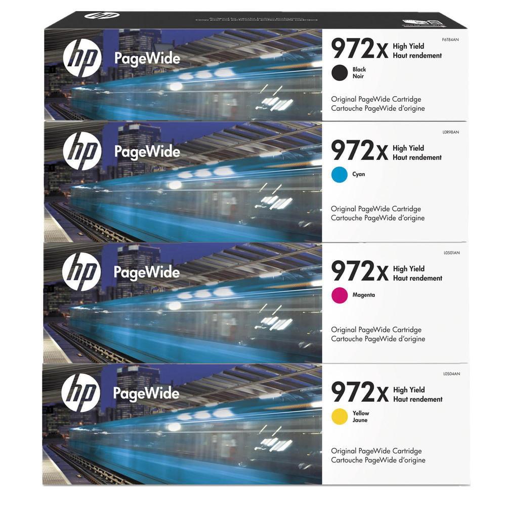 HP 972X High Yield Original PageWide Cartridge 4-Color Set- F6T84AN, L0R98AN, L0S01AN, L0S04AN