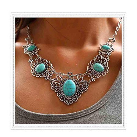 Chicer Bohemian Turquoise Necklace Earrings Set Pendant Carving Chain Jewelry for Women and Girls (Green) Turquoise Carving Set