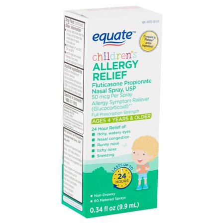 Equate Children's Allergy Relief Fluticasone Propionate Nasal Spray, 50 mcg, Ages 4 Years & Older, 0.34 fl oz