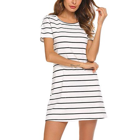 Printed Cross Front Dress - Women's Casual Striped Criss Cross Short Sleeve T Shirt Mini Dress with Pockets