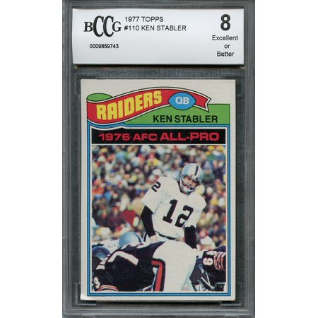 1977 topps #110 KEN STABLER oakland raiders BGS BCCG 8 - Ken Stabler Oakland Raiders Framed