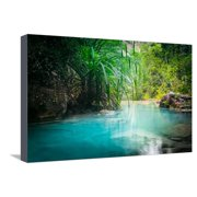 Jungle Landscape with Flowing Turquoise Water of Erawan Cascade Waterfall at Deep Tropical Rain For Stretched Canvas Print Wall Art By Perfect Lazybones