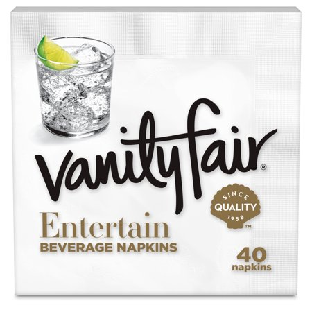 (5 pack) Vanity Fair Beverage Paper Napkins, White, 40 Napkins each (200 Napkins Total)