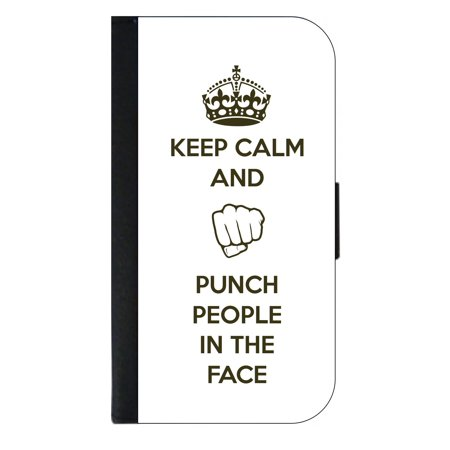 Keep Calm and Punch People in the Face - Wallet Style Cell Phone Case with 2 Card Slots and a Flip Cover Compatible with the Apple iPhone 6 Plus and 6s Plus