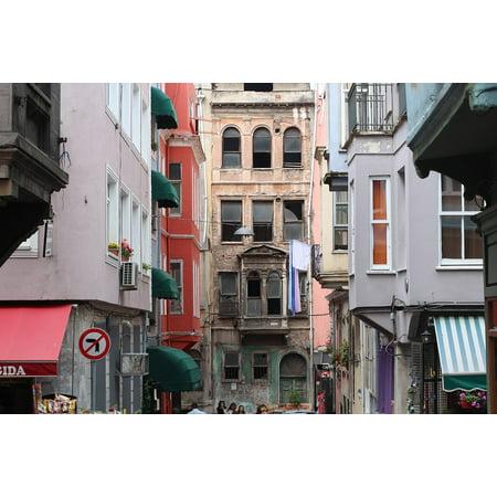 Brick Scene (Canvas Print Flat Istanbul Brick Ottoman Old Scene Street Stretched Canvas 10 x)