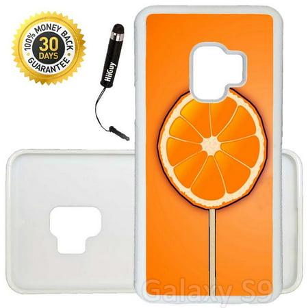 Custom Galaxy S9 Case (Sun Kiss Orange Lollipop) Edge-to-Edge Rubber White Cover Ultra Slim   Lightweight   Includes Stylus Pen by - Orange Lollipop