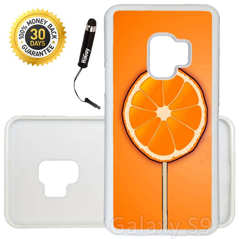 Custom Galaxy S9 Case (Sun Kiss Orange Lollipop) Edge-to-Edge Rubber White Cover Ultra Slim | Lightweight | Includes Stylus Pen by Innosub