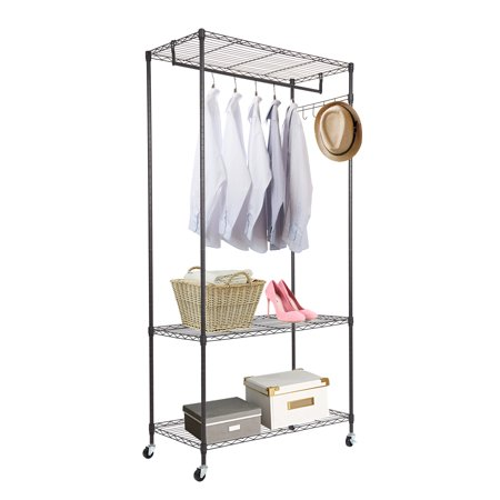 Karmas Product 3 Tire Garment Rack Cloth Hanging Heavy Duty Clothing Rolling With Wheel 4 Hooks And One Rod