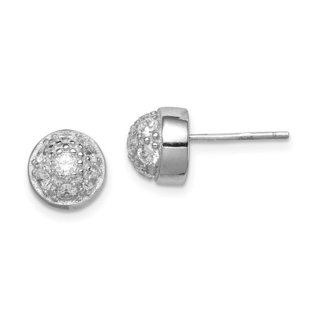 925 Sterling Silver Cubic Zirconia Cz Half Ball Post Stud Button Earrings Fine Jewelry Ideal Gifts For Women Gift Set From Heart