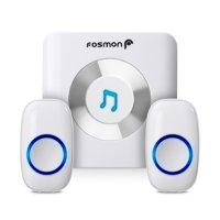 Fosmon Wireless Doorbell Range 300M/1,000FT, 52 Chime Tunes, 4 Volume Levels, LED Indicators 1 Receiver & 2 Transmitters