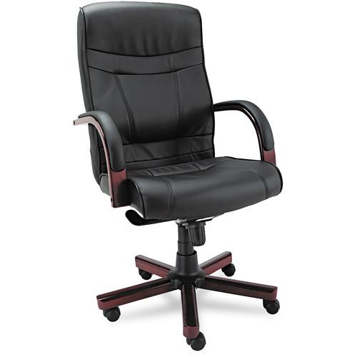 Alera Madaris High-Back Swivel/Tilt Leather Chair w/Wood Trim, Black/Mahogany