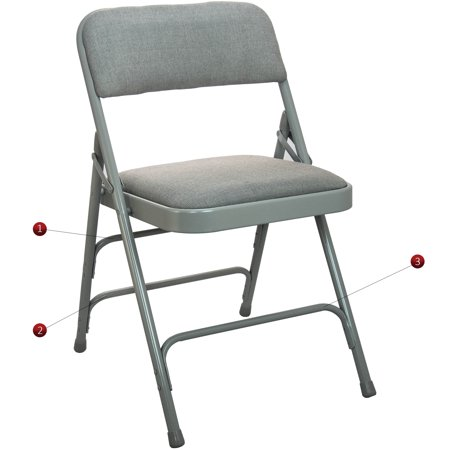 Advantage Series 4pk Triple Braced And Double Hinged Fabric Upholstered Metal Folding Chair With 1