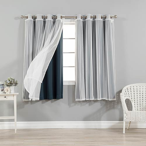 Navy 52 x 63 In. Sheer Lace and Blackout Window Treatments, Set of Four