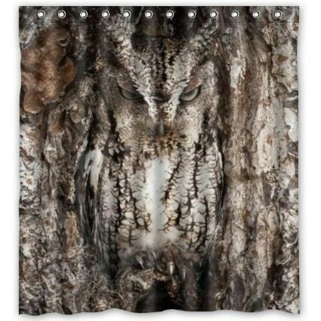 HelloDecor Coll Camo Owl Shower Curtain Polyester Fabric Bathroom Decorative Size 66x72 Inches