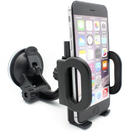 iPhone 5S Car Mount Windshield Holder Swivel Cradle Window Dock Stand Suction Black Multi Angle Rotation L3J