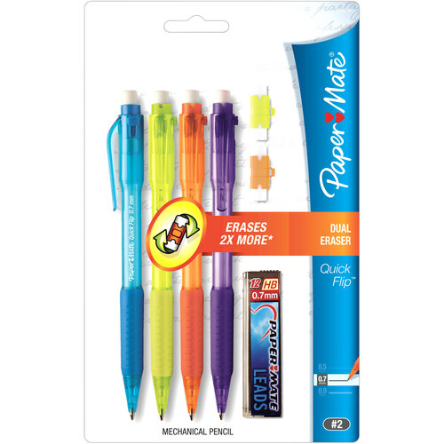 Paper Mate Quick Flip 0.7mm Mechanical Pencil Starter Set, 4pk