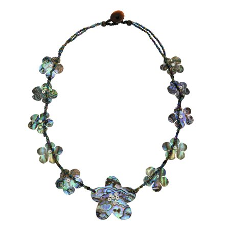 - Graceful Bloom Mix of Colorful Abalone Shell Flowers on Beads Statement Necklace
