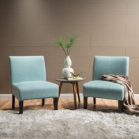 Noble House Cassie Contemporary Fabric Slipper Accent Chair (Set of 2), Light Blue and Matte Black