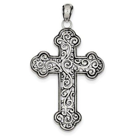 Swirl Cross Charm - Sterling Silver Antiqued Swirl Cross Pendant