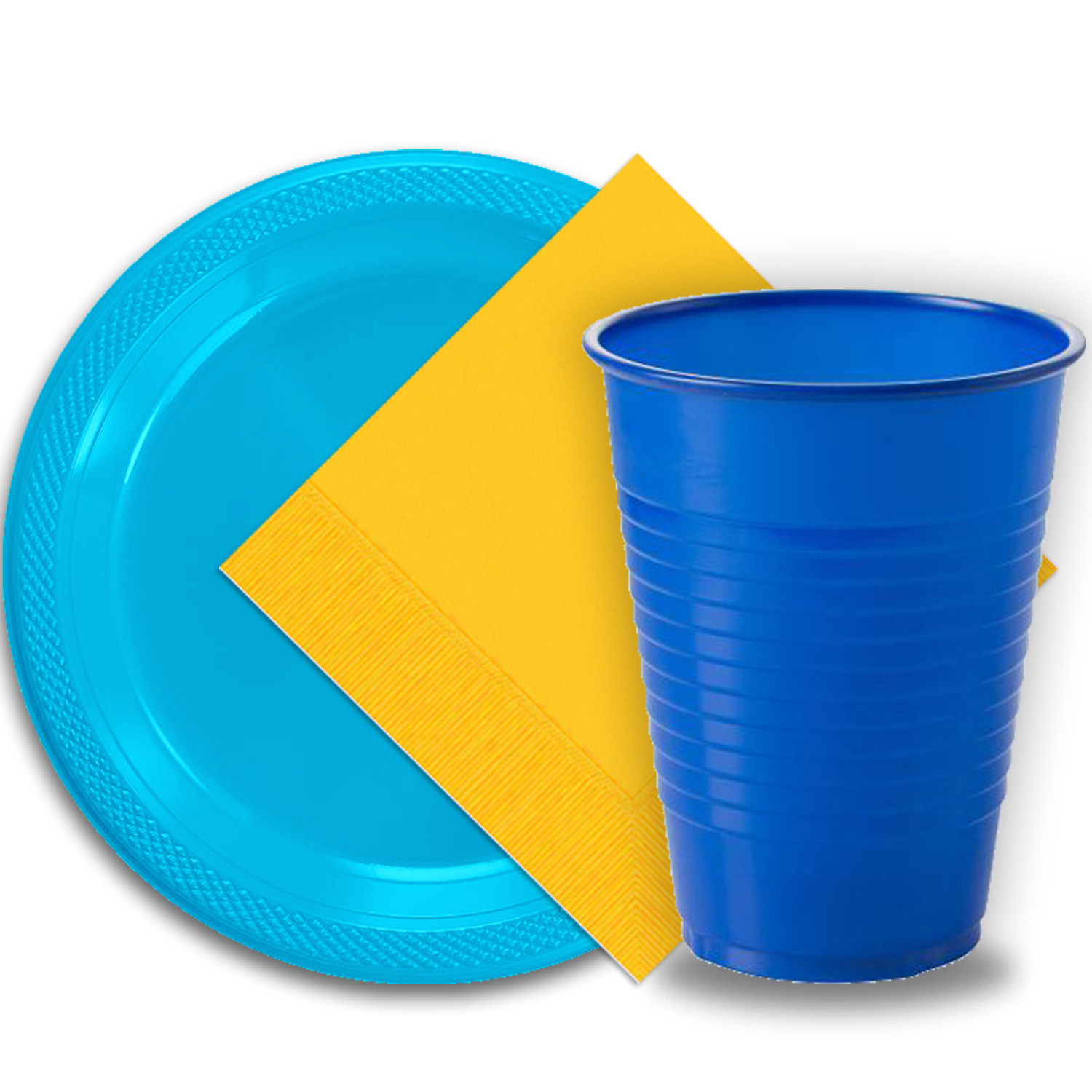 """50 Aqua Plastic Plates (9""""), 50 Dark Blue Plastic Cups (12 oz.), and 50 Yellow Paper Napkins, Dazzelling Colored Disposable Party Supplies Tableware Set for Fifty Guests."""