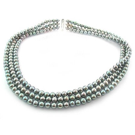 """Image of Gray Freshwater Pearl Necklace for Women, Sterling Silver 3 Row 18"""" 6.5mm x 7mm"""