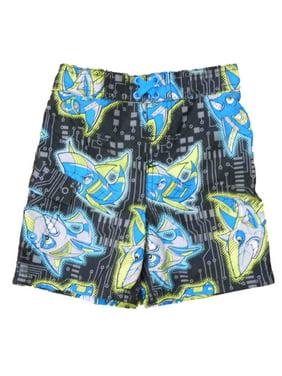 cd502d23d8 Product Image Joe Boxer Infant & Toddler Boys Black Angry Shark Swim Trunks  Board Shorts 2T