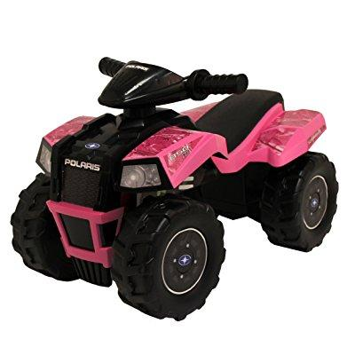tek nek polaris pink camo scrambler atv ride-on