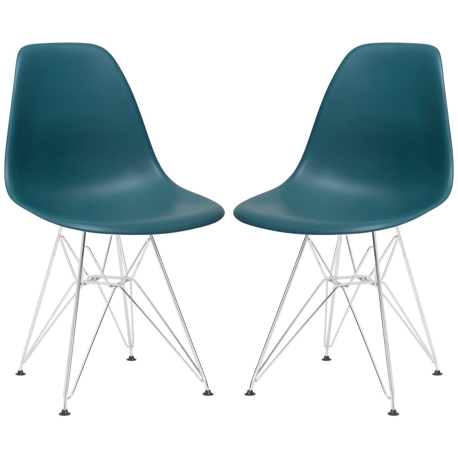 EdgeMod Padget Side Chair with Chrome Legs - Set of 2