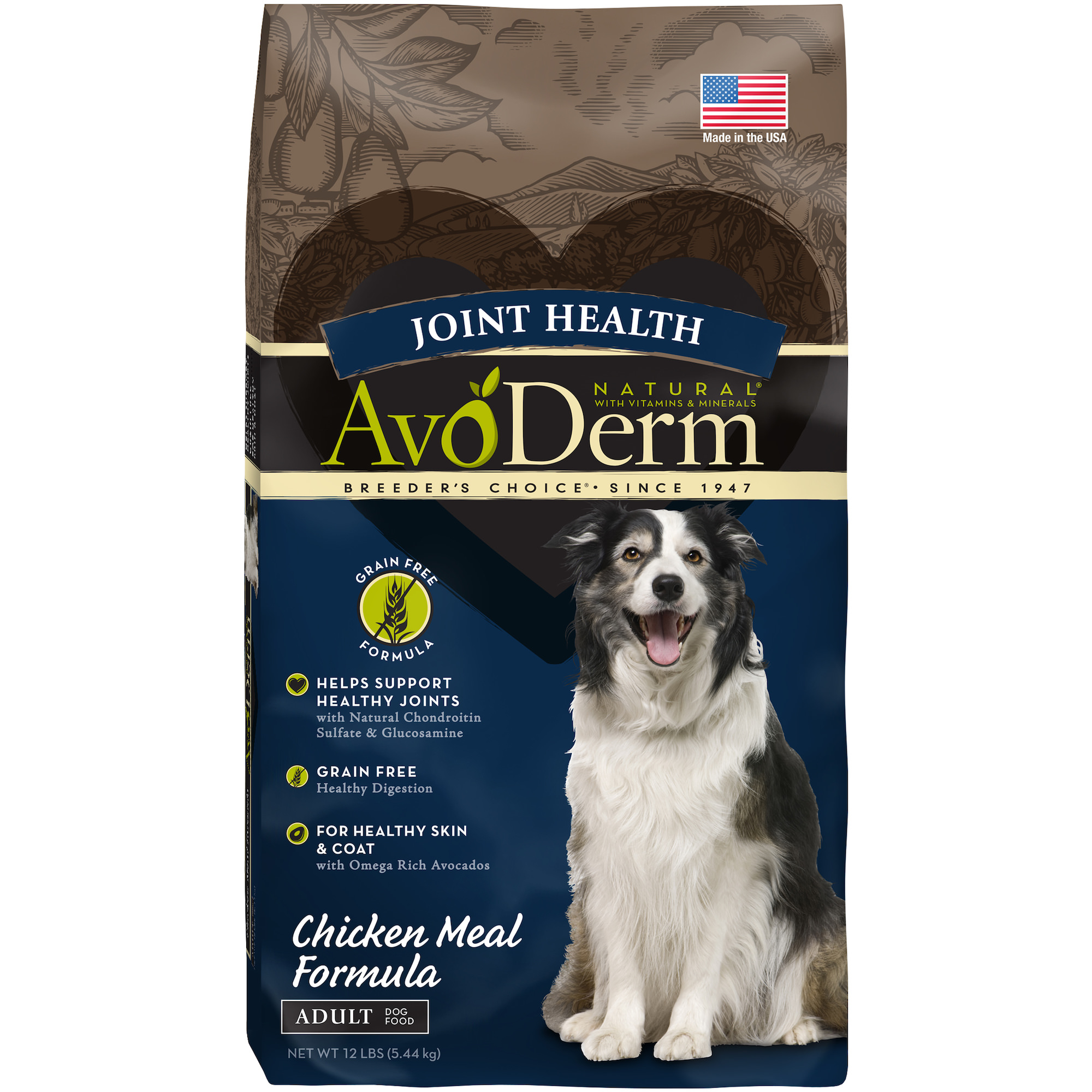 AvoDerm Joint Health Grain Free Chicken Meal Dry Dog Food 12LB