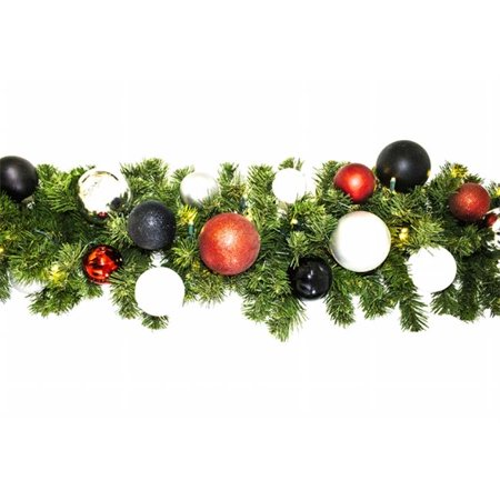 Winterland WL-GARSQ-09-MOD-LWW Led Sequoia Garland Decorated With The Modern Ornament Collection (Sequoia Collection)