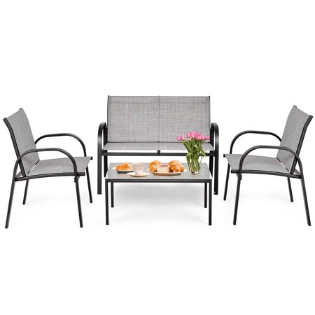 Costway 4 Pcs Patio Furniture Set Sofa Coffee Table Steel Frame