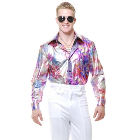 Mens Adult's 70s Metallic Flower Print Disco Shirt Costume