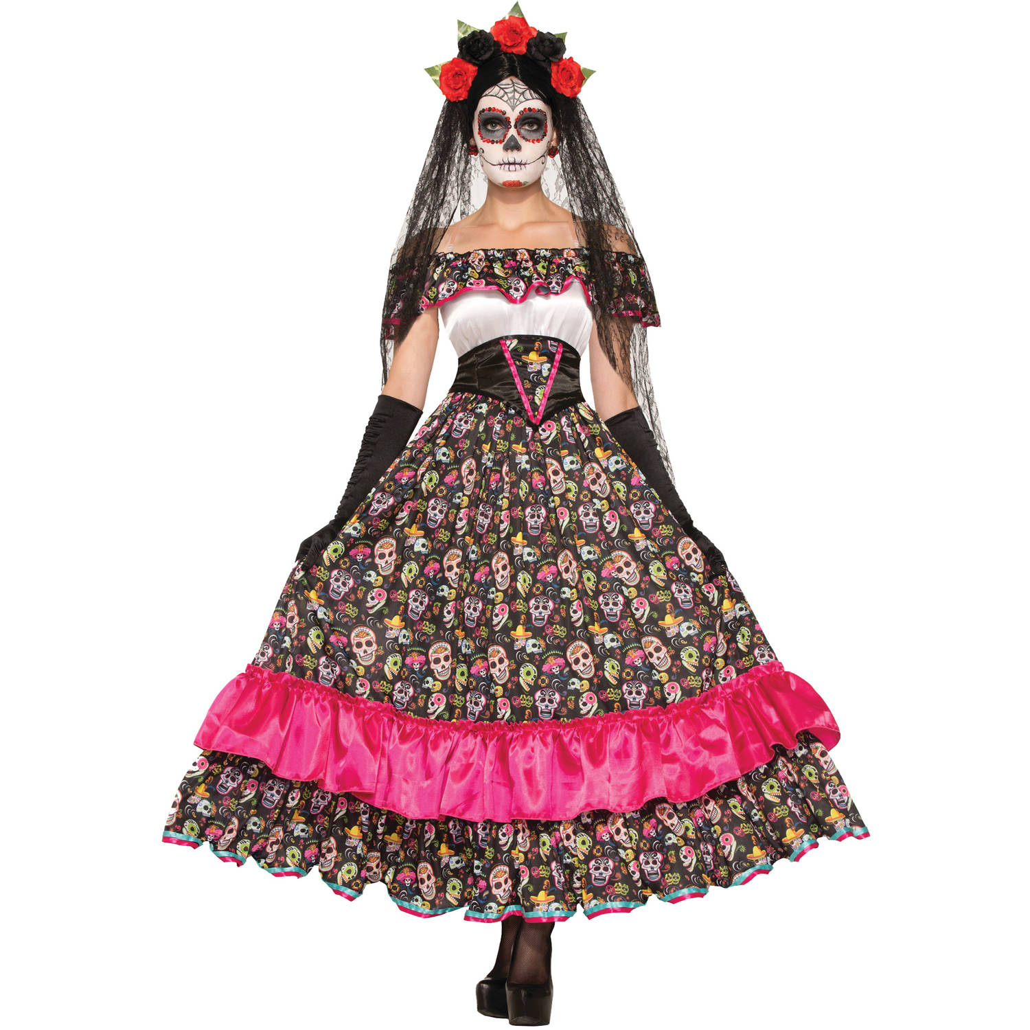 day of the dead spanish lady adult halloween costume - walmart