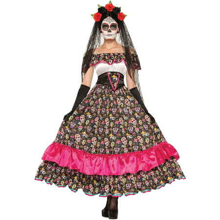 day of the dead spanish lady adult halloween costume. Black Bedroom Furniture Sets. Home Design Ideas