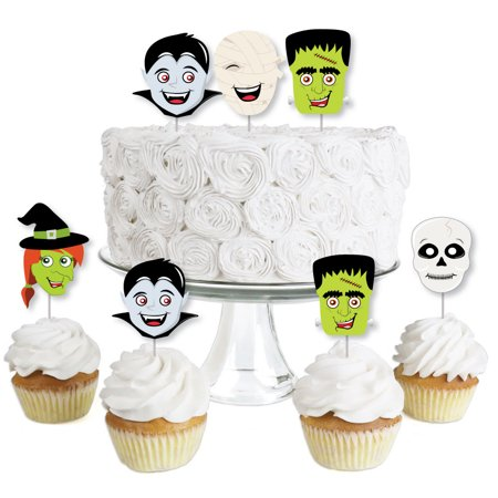 Halloween Monsters - Dessert Cupcake Toppers - Halloween Party Clear Treat Picks - Set of 24